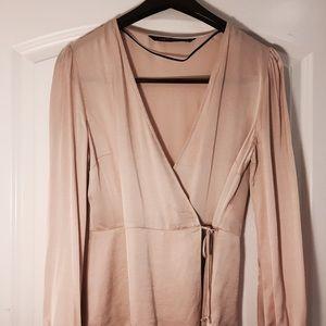 Zara blush long sleeve wrapped blouse